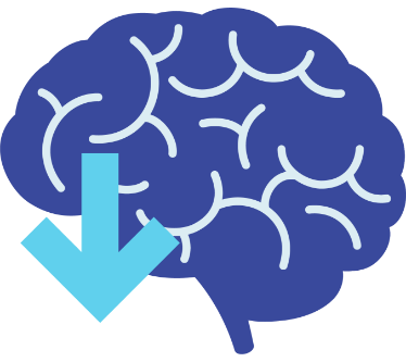 Graphic of a brain with arrow indicating lower SUDEP rates
